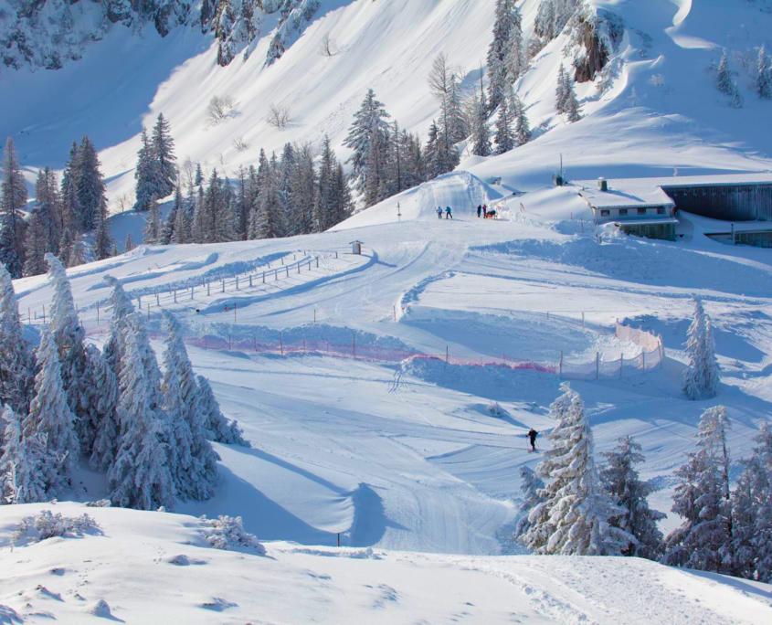 Blick auf die präparierten Skipisten des Skigebiets Kampenwand